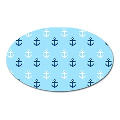 Anchors In Blue And White Magnet (oval)