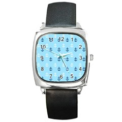 Anchors In Blue And White Square Leather Watch by StuffOrSomething