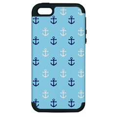 Anchors In Blue And White Apple Iphone 5 Hardshell Case (pc+silicone) by StuffOrSomething