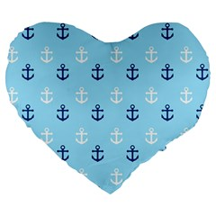 Anchors In Blue And White 19  Premium Heart Shape Cushion