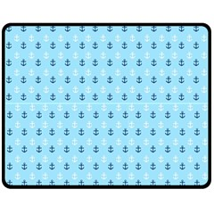 Anchors In Blue And White Fleece Blanket (medium) by StuffOrSomething