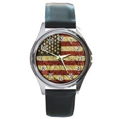 Vinatge American Roots Round Leather Watch (silver Rim) by dflcprints