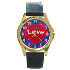 Love Theme Concept  Illustration Motif  Round Leather Watch (gold Rim)  by dflcprints
