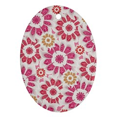 Feminine Flowers Pattern Oval Ornament by dflcprints