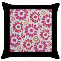 Feminine Flowers Pattern Black Throw Pillow Case by dflcprints
