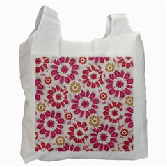 Feminine Flowers Pattern White Reusable Bag (one Side) by dflcprints