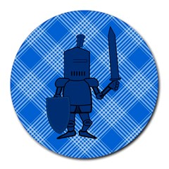 Blue Knight On Plaid 8  Mouse Pad (round) by StuffOrSomething