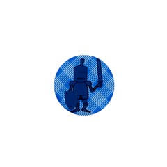Blue Knight On Plaid 1  Mini Button by StuffOrSomething