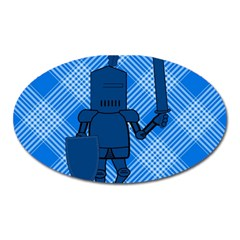 Blue Knight On Plaid Magnet (oval) by StuffOrSomething