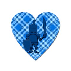 Blue Knight On Plaid Magnet (heart) by StuffOrSomething