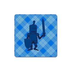 Blue Knight On Plaid Magnet (square)
