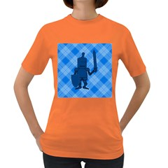 Blue Knight On Plaid Women s T-shirt (colored) by StuffOrSomething