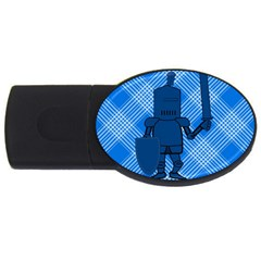 Blue Knight On Plaid 4gb Usb Flash Drive (oval) by StuffOrSomething