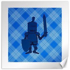 Blue Knight On Plaid Canvas 16  X 16  (unframed) by StuffOrSomething