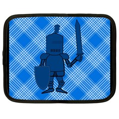 Blue Knight On Plaid Netbook Sleeve (xl) by StuffOrSomething