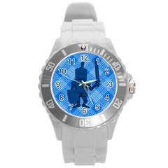 Blue Knight On Plaid Plastic Sport Watch (large) by StuffOrSomething