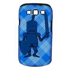 Blue Knight On Plaid Samsung Galaxy S Iii Classic Hardshell Case (pc+silicone)