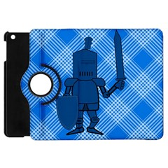 Blue Knight On Plaid Apple Ipad Mini Flip 360 Case by StuffOrSomething