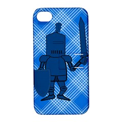 Blue Knight On Plaid Apple Iphone 4/4s Hardshell Case With Stand by StuffOrSomething
