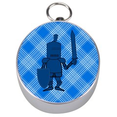Blue Knight On Plaid Silver Compass by StuffOrSomething