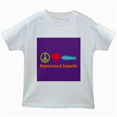 Peace Love & Zeppelin Kids T Shirt (white) by SaraThePixelPixie