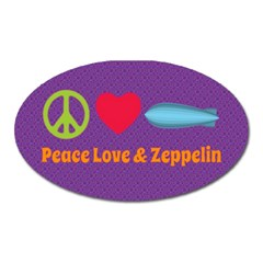 Peace Love & Zeppelin Magnet (oval) by SaraThePixelPixie