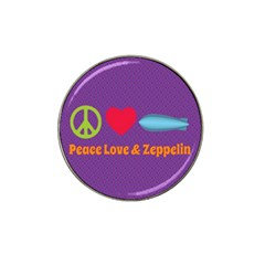 Peace Love & Zeppelin Golf Ball Marker (for Hat Clip) by SaraThePixelPixie