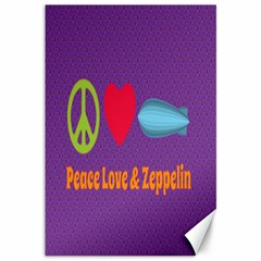 Peace Love & Zeppelin Canvas 12  X 18  (unframed) by SaraThePixelPixie