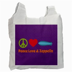 Peace Love & Zeppelin White Reusable Bag (two Sides) by SaraThePixelPixie