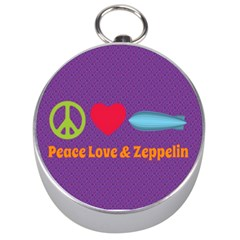 Peace Love & Zeppelin Silver Compass by SaraThePixelPixie