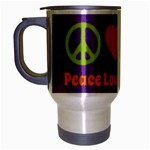 Peace Love & Zeppelin Travel Mug (Silver Gray) Left