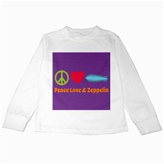 Peace Love & Zeppelin Kids Long Sleeve T Shirt by SaraThePixelPixie