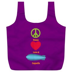 Peace Love & Zeppelin Reusable Bag (xl) by SaraThePixelPixie