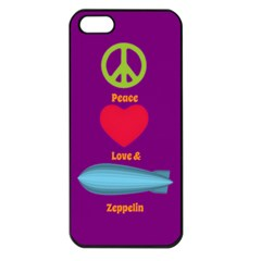 Peace Love & Zeppelin Apple Iphone 5 Seamless Case (black) by SaraThePixelPixie