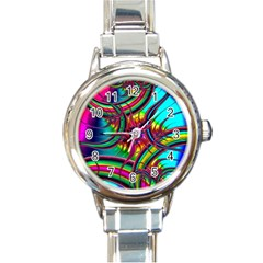 Abstract Neon Fractal Rainbows Round Italian Charm Watch by StuffOrSomething
