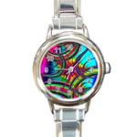 Abstract Neon Fractal Rainbows Round Italian Charm Watch Front