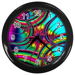 Abstract Neon Fractal Rainbows Wall Clock (black) by StuffOrSomething