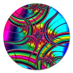 Abstract Neon Fractal Rainbows Magnet 5  (round) by StuffOrSomething
