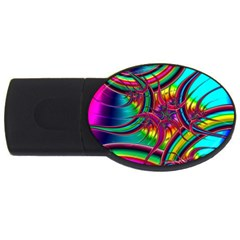 Abstract Neon Fractal Rainbows 2gb Usb Flash Drive (oval) by StuffOrSomething