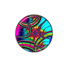 Abstract Neon Fractal Rainbows Golf Ball Marker (for Hat Clip) by StuffOrSomething