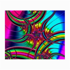 Abstract Neon Fractal Rainbows Glasses Cloth (small, Two Sided)