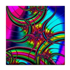 Abstract Neon Fractal Rainbows Face Towel by StuffOrSomething