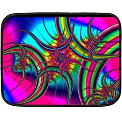 Abstract Neon Fractal Rainbows Mini Fleece Blanket (two Sided)