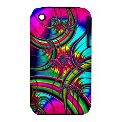 Abstract Neon Fractal Rainbows Apple Iphone 3g/3gs Hardshell Case (pc+silicone)