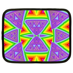 Trippy Rainbow Triangles Netbook Sleeve (xl) by SaraThePixelPixie