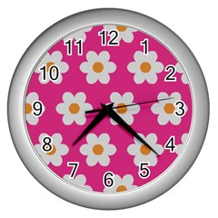 Daisies Wall Clock (silver) by SkylineDesigns