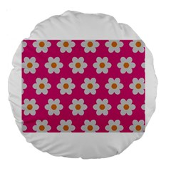 Daisies 18  Premium Round Cushion  by SkylineDesigns
