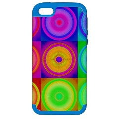 Retro Circles Apple Iphone 5 Hardshell Case (pc+silicone) by SaraThePixelPixie