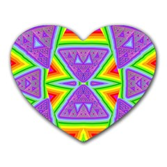 Trippy Rainbow Triangles Mouse Pad (heart) by SaraThePixelPixie