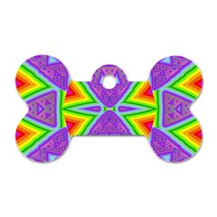 Trippy Rainbow Triangles Dog Tag Bone (two Sided) by SaraThePixelPixie